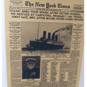 ❤️ 2/30$ New york times 1912 titanic captain smith